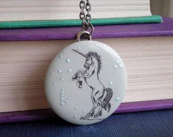 Unicorn Necklace - Bohemian Cosmic Stars Space Art Pendant - Vintage Boho Unicorn Outline Animal Jewelry Gift, Celestial Star Wanderlust Art