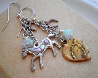Horse + Wishbone Charm Dangle Earrings - Vintage Equestrian Retro Chic Cowgirl Mismatched Flower Dangles  - Love & Luck Jewelry Gift For Her