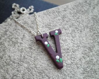 Letter V Initial Necklace - Hand Painted Purple Wooden V Pendant Personalized Jewelry Gift - Tiny White Flowers Boho Floral Charm Necklace