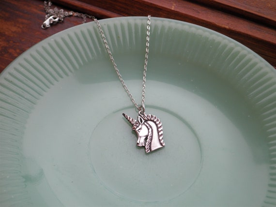 Sterling Silver Unicorn Charm Necklace - Vintage … - image 6