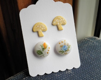 Mushroom & Flowers Stud Earrings - Mismatched Floral Dots + Yellow Glitter Mushrooms - Retro Woodland Post Earrings Everyday Jewelry Gift