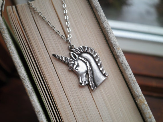 Sterling Silver Unicorn Charm Necklace - Vintage … - image 1