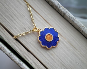 Flower Necklace - Vintage Enamel Blue Forget Me Not Charm Necklace - Everyday Layering Floral Jewelry Gift For Her - Retro Cloisonne Flower