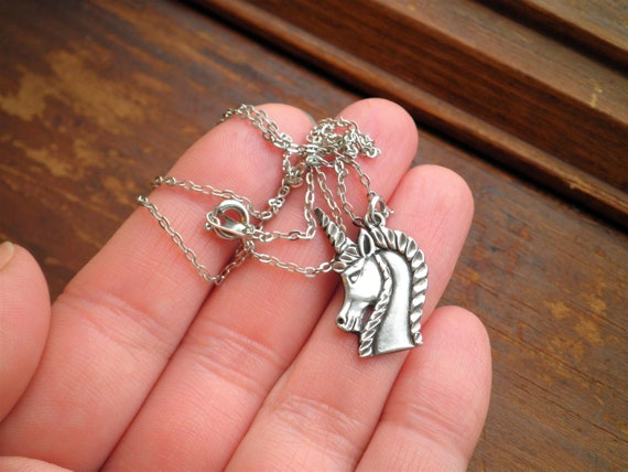 Sterling Silver Unicorn Charm Necklace - Vintage … - image 5