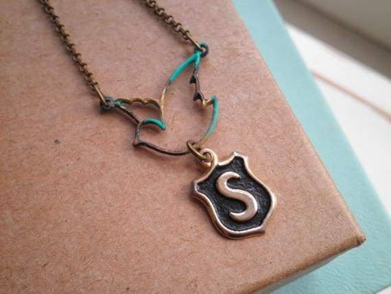 f027023c24db Vintage Initial Letter S Charm Necklace Personalized Jewelry