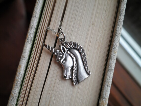 Sterling Silver Unicorn Charm Necklace - Vintage … - image 3