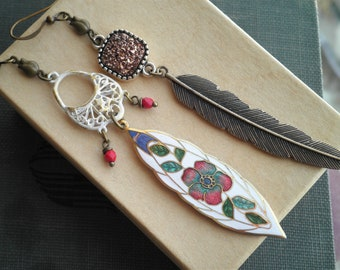 Vintage Enamel Flower & Feather Dangle Earrings - Mismatched Bohemian Dangle Statement Earrings - Boho Druzy + Retro Cloisonné Jewelry Gift