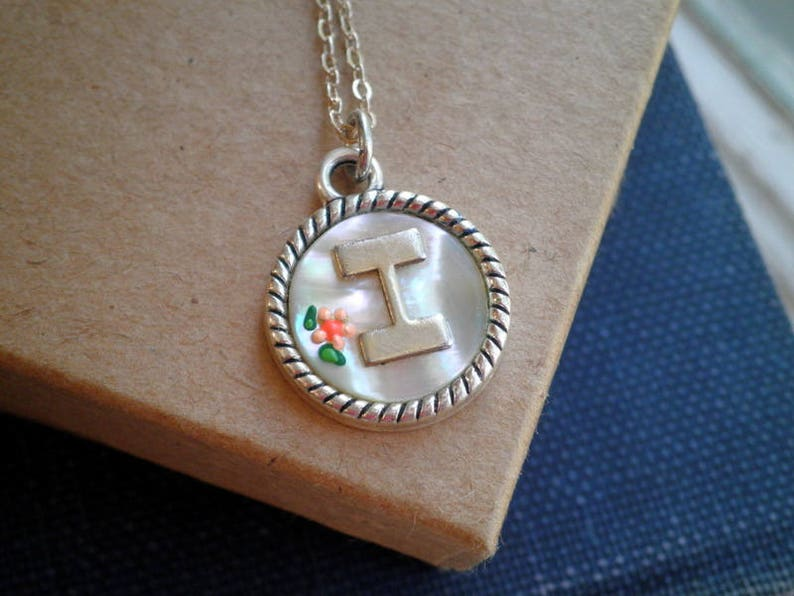 67ed0bdac823 Vintage Letter I Charm Necklace Vintage Mother of Pearl
