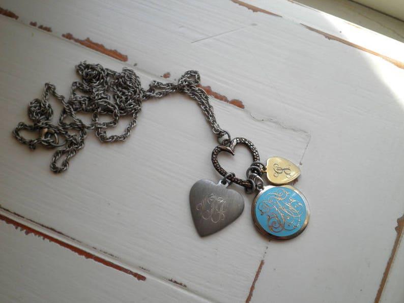 Vintage Monogram Initials Heart Charm Necklace Cursive Letter Pendant Antique Signet Personalized Initial Letter Charms Retro Jewelry Gift
