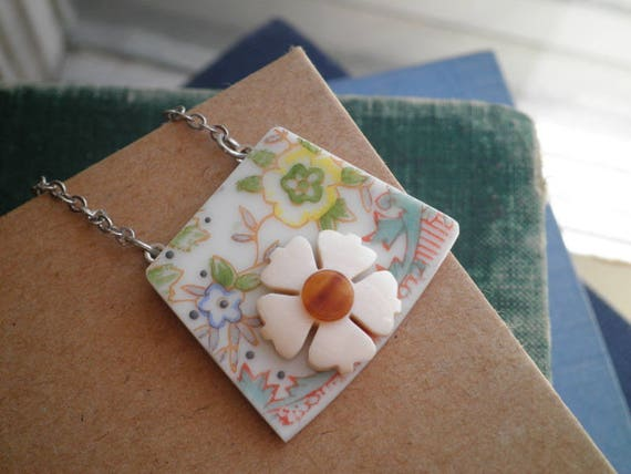 Gift for Mom Shabby Chic Victorian Necklace Broken China Jewelry Unique Mothers Day Gift for Women Flower Necklace