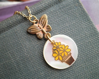 Vintage Flower Pot & Button Charm Necklace - Tiny Yellow Flowers Potted Plant + Butterfly + Mother of Pearl Button Everyday Jewelry Gift