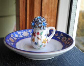 Blue Flower Ring Dish Jewelry Plate / Bowl, Tiny Vintage Floral China Pitcher & Plate, Mini Flower Vase Ring Jewelry Storage Home Decor Gift