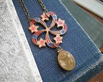 Vintage Locket Necklace - Floral Cloisonné Pendant + Antique Etched Locket Assemblage Jewelry Gift, Copper & Blue Flowers Statement Necklace