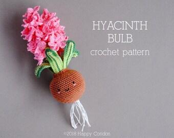 CROCHET PATTERN - Hyacinth bulb - spring flower amigurumi