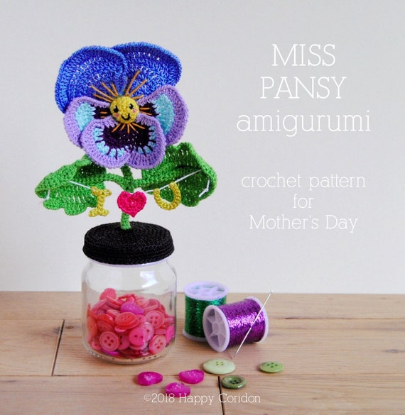 CROCHET PATTERN Miss Pansy amigurumi for Mother\'s Day | Etsy