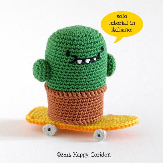 Patrón de ganchillo italiano Cactus en un monopatín | Etsy