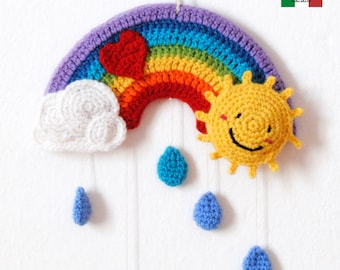 Crochet pattern - A tiny rainbow mobile