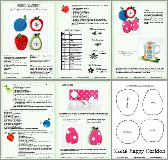 Crochet patrones posavasos de frutas | Etsy