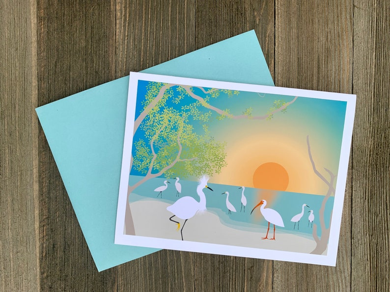 Tropical Bird Stationery Summer Beach Stationary Set Ibis and Egret Card