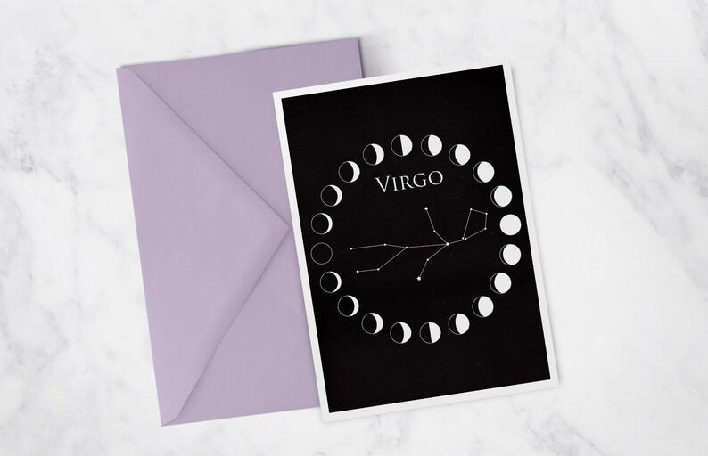 Virgo Zodiac Birthday Card Astrology Stationary Set Boho image 0