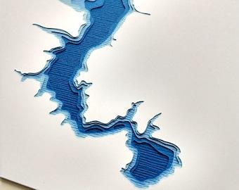 Lake Redstone - original 8 x 10 papercut art