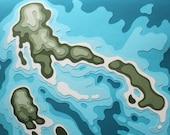 Imaginary Islands 1212 No. 5 (12 x 12 original papercut)