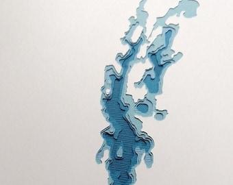 """Lake Champlain - 8 x 10"""" layered papercut art"""