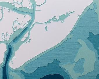 "Hilton Head - 8 x 10"" layered papercut art"