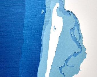 Netarts Bay - original 8 x 10 papercut art