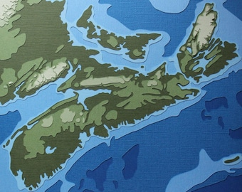Nova Scotia w/ Topography - original 8 x 10 papercut art