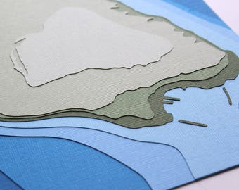 Mackinac Island w/ topography - original 8 x 10 papercut art