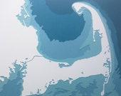 """Cape Cod - 8 x 10"""" layered papercut art"""