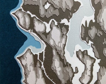 Seattle w/ Topography - original 8 x 10 papercut art