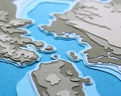 San Francisco Bay w/ Topography - original 8 x 10 papercut art