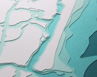 Wrightsville Beach - original 8 x 10 papercut art in your choice of color