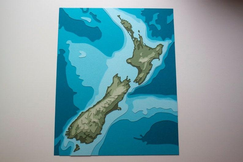 New Zealand Topography  8 x 10 layered papercut art image 0