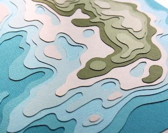 Imaginary Islands 810 No. 4 (8 x 10 original papercut)