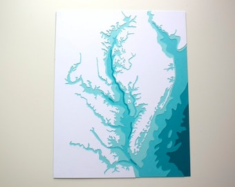 Chesapeake Bay - original 8 x 10 papercut art