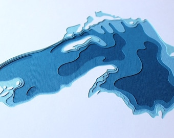 Lake Superior - original 12 x 12 papercut art