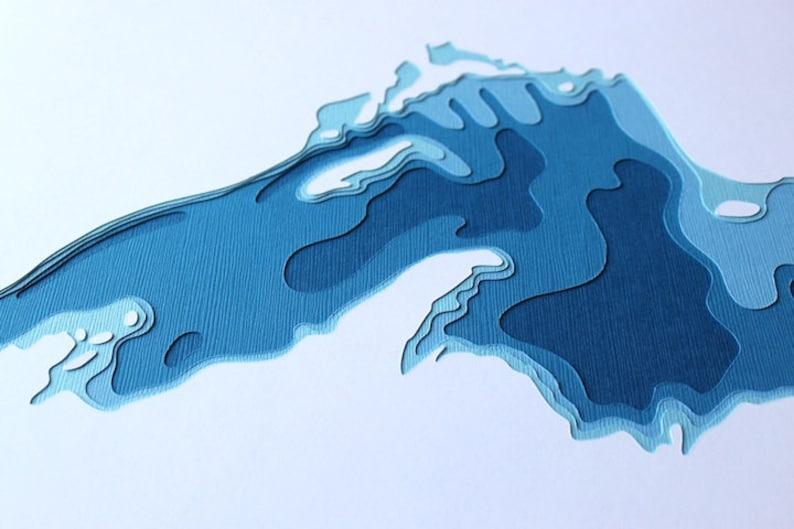 Lake Superior  original 12 x 12 papercut art image 0