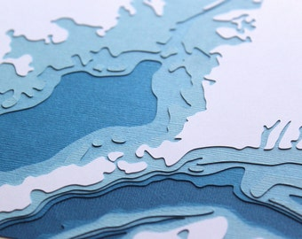 "Buzzards Bay - 8 x 10"" layered papercut art"
