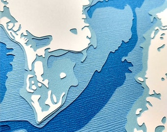 """Tampa Bay - 8 x 10"""" layered papercut art"""