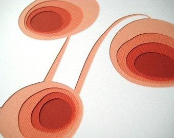 Retro Poppies - original papercut (8 x 10)