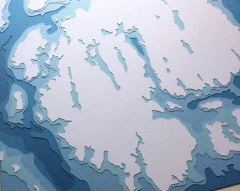 "Mount Desert Island - 12 x 12"" layered papercut art"