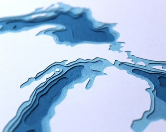 The Great Lakes - original 8 x 10 papercut art
