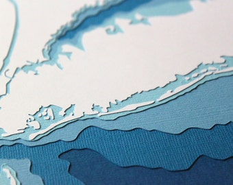Long Island - original 8 x 10 papercut art in your choice of color