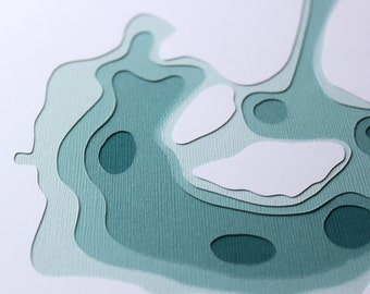 Lake of the Isles - original 8 x 10 papercut art in your choice of color