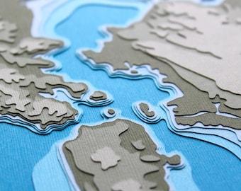 San Francisco Bay w/ Topography - original 8 x 10 papercut art