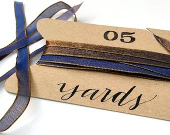 "Fancy Blue Gold Ribbon, 5 Yards Sheer, Iridescent Thin 1/4"" Ribbon, Indigo Blue, Antique Gold Holiday Ribbon, Wedding Invitation Ribbon"