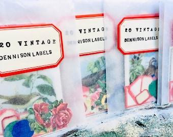 Vintage Dennison Labels, 20 Gummed Labels, Mix of Red Border Labels, Birds, Insects, Galaxy, Flower Seals, Crafting Paper Ephemera